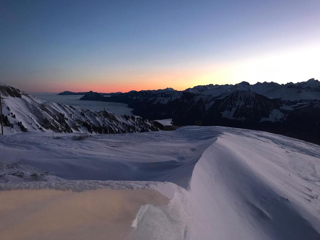 Winter Sonnenaufgang Turren Obwalden